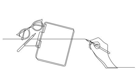 hand drawing business concept sketch of glasses notepad and pencil