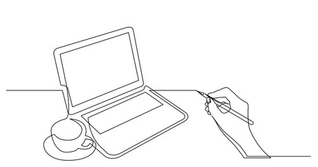 hand drawing business concept sketch of laptop computer cup of tea