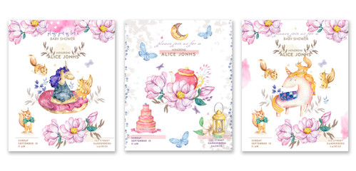 Set cards watercolor isolated cute watercolor unicorn and sqirrel clipart. Nursery unicorns illustration. Princess unicorns poster. Trendy pink cartoon horse. Birthday invite.
