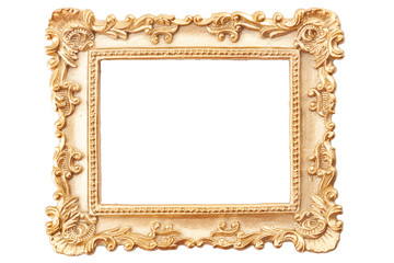 Gold gilt and gilded art carve objects concept theme with a photo frame covered in golden paint adorned with intricate carvings isolated on white background with copy space and a clip path cutout