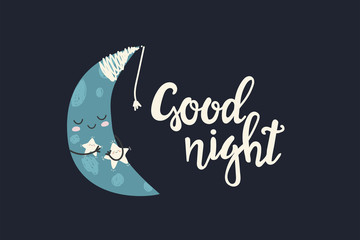 Good Night. Draw seamless pattern background with sky, cloud, emotion, stars, moon, luna and many details. Can use for printing, website, presentation element, textile. Vector illustration.