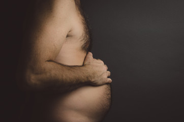 The Pregnant Man - Male with Hairy Chest and Belly Maternity Style - Humor