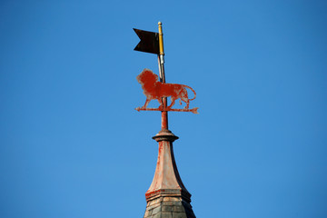 A weather vane shaped as a lion, the symbol of the city of Belfort, is seen on the roof of a buiding in Belfort