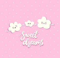 Sweet Dreams. Draw seamless pattern background with sky, family cloud, emotion and text, many details. Can use for printing, website, presentation element, textile. Vector illustration.
