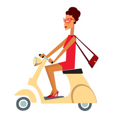 A cartoon character girl in a short red dress rides a small scooter. Vector graphics. Isolate