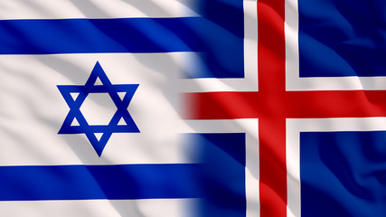 Waving Israel and Iceland Flags
