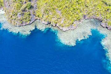 Aerial of Coral Reef Fringing Limestone Island in Raja Ampat