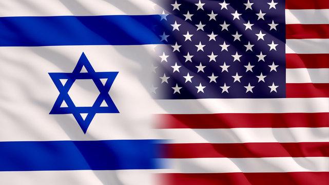Waving Israel and USA Flags