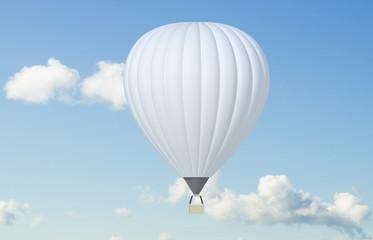3d illustration of a white balloon against the sky mocap. 3d modeling
