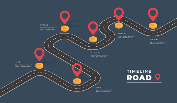 Isometric navigation map infographic. Winding road. Vector illustration.