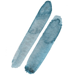 Abstract blue watercolor and stylish brush stroke on the white isolated background. Creative colorful form. Decorative element.