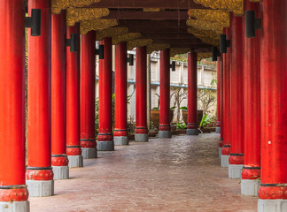 red pillar in temple