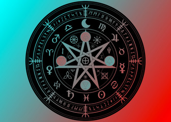 Wiccan symbol of protection. Black Mandala Witches runes and alphabet, Mystic Wicca divination. Ancient occult symbols, Earth Zodiac Wheel of the Year Wicca Astrological signs, vector isolated