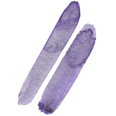 Abstract violet watercolor and stylish brush stroke on the white isolated background. Creative colorful form. Decorative element.