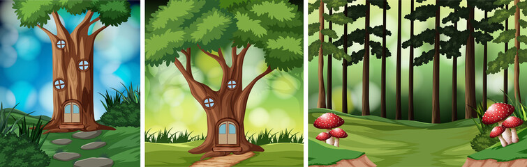 Set of rainforest background