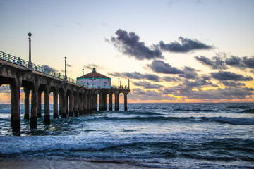 Sunset behind the pier at Manhattan Beach, California