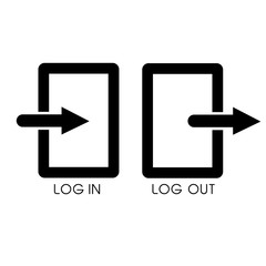 Simple Icon, Log in and Out