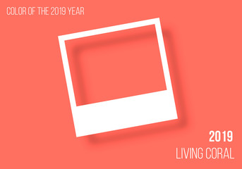 Living Coral color of the year. Color trend palette. Living color. Photo frame mockup glued with color tape with shadow . Realistic empty templates. Vector illustration