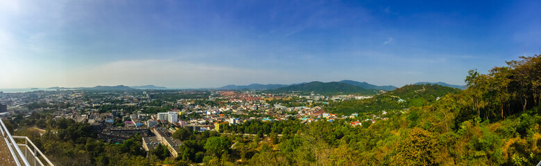 Beautiful panorama landscape in 180 degrees view of Phuket city from Khao Rang, small hill in Phuket, Thailand .