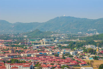 Beautiful landscape view of Phuket city from Khao Rang viewpoint, small hill in Phuket city, Thailand.
