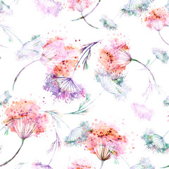 Vintage seamless watercolor pattern of plants. Herbs, flowers, dried flowers, pink flowers watercolor. Abstract watercolor paint splash. Fashionable pattern.