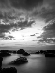 Long exposure  beach in black and white