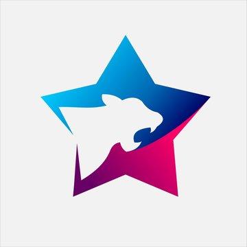 Tiger logo in Star vector