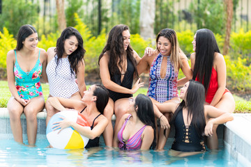 Friends At A Pool Party