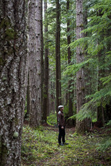 Man walking alone in woods