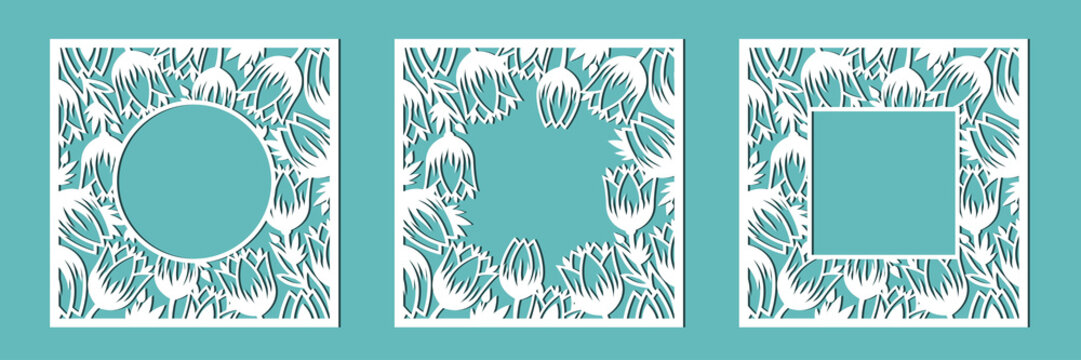 Frame of tulips. A set of floral frames for cutting out of paper, laser or plotter. Vector