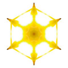 Golden light leaks on a hexagon star shape