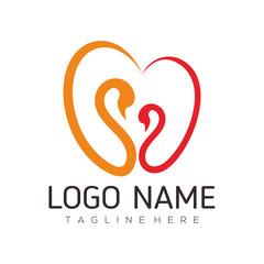 Date love and Valentine logo design