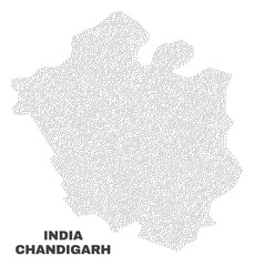 Chandigarh City map designed with small points. Vector abstraction in black color is isolated on a white background. Scattered small points are organized into Chandigarh City map.