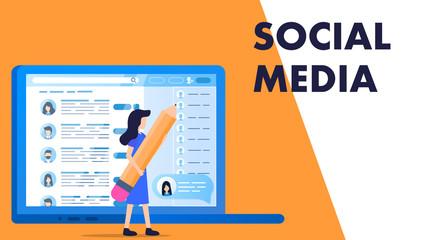 Woman Hold Big Pencil Select Employee Social Media