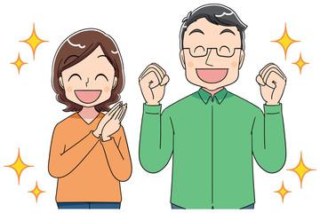 夫婦 両親 アニメ風タッチ