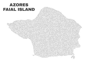 Faial Island map designed with tiny points. Vector abstraction in black color is isolated on a white background. Random tiny items are organized into Faial Island map.