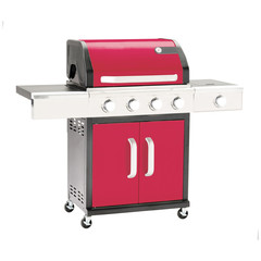Barbecue Gas Grill Isolated on White Background. Stainless Steel and Red BBQ Grillware Gas Grill. Outdoor Cooking Station. Outdoor Grill Table. Clipping Path