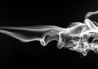 White smoke abstract on black background, fire design