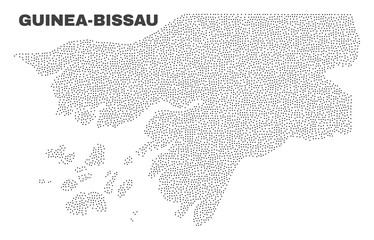 Guinea-Bissau map designed with tiny points. Vector abstraction in black color is isolated on a white background. Random tiny points are organized into Guinea-Bissau map.