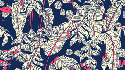 Tropical plants seamless pattern, Bird of paradise, Selenicereus chrysocardium and Hoya obovata on blue background, blue and pink tones Wall mural