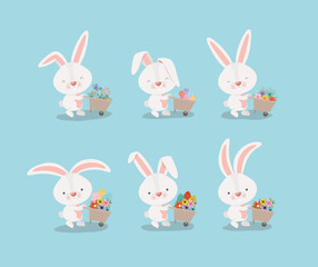 group of cute rabbits with wheelbarrows and flowers