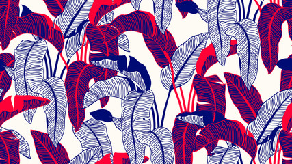 Tropical plants seamless pattern, Bird of paradise on light brown background, line art ink drawing in blue and red tones