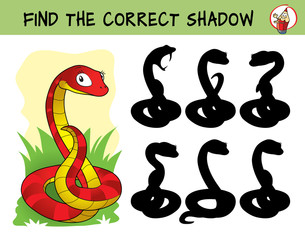Cute red snake. Find the correct shadow. Educational matching game for children. Cartoon vector illustration