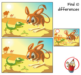 Desert animals. Lizard, jerboa and camels.  Find 10 differences. Educational matching game for children. Cartoon vector illustration