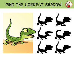 Funny green lizard. Find the correct shadow. Educational matching game for children. Cartoon vector illustration