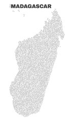 Madagascar Island map designed with little points. Vector abstraction in black color is isolated on a white background. Scattered small points are organized into Madagascar Island map.