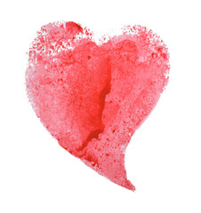 Red heart shaped print on white background.