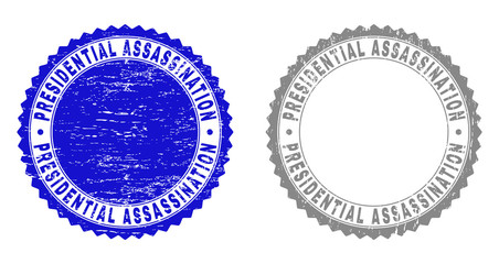 Grunge PRESIDENTIAL ASSASSINATION stamp seals isolated on a white background. Rosette seals with distress texture in blue and grey colors.