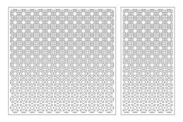 Set decorative card for cutting. Arabesque pattern. Laser cut panel. Ratio 1:1, 1:2. Vector illustration.