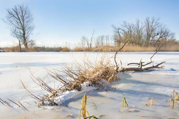 zamarznięta rzeka, zima